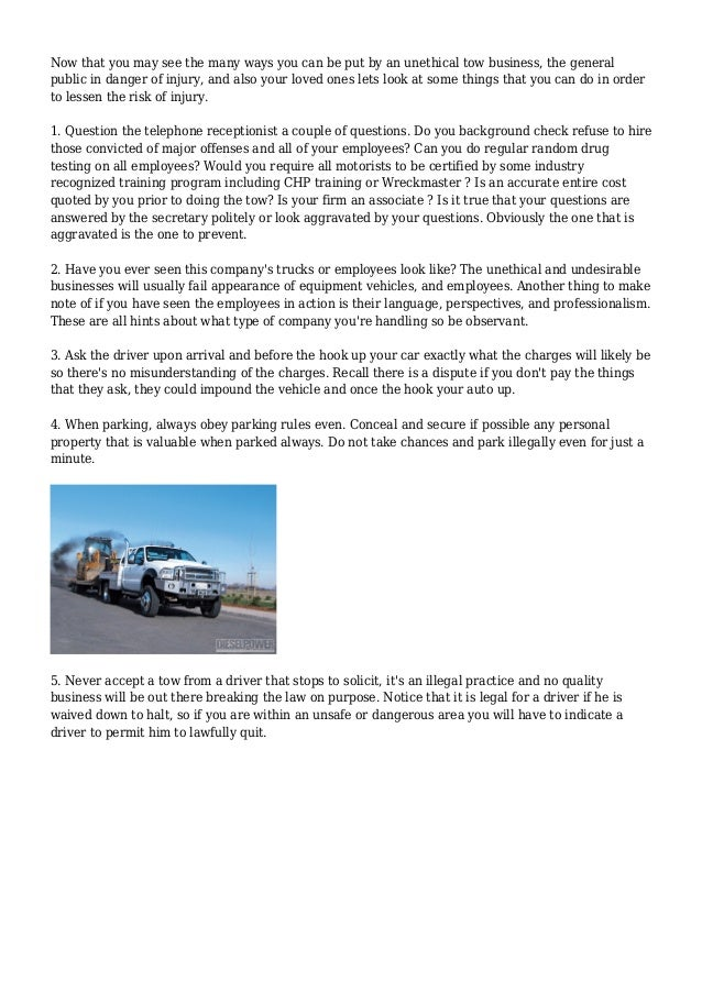 The Methods That Tow Trucks Employ To Illegally Impound Cars Slide 3