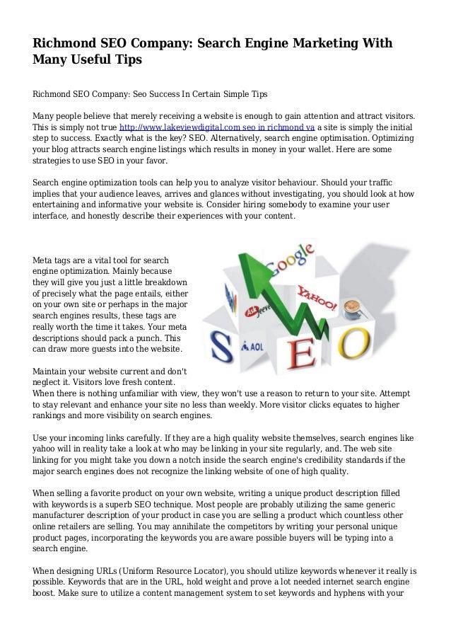 Richmond SEO Company: Search Engine Marketing With Many Useful Tips Richmond SEO Company: Seo Success In Certain Simple Ti...