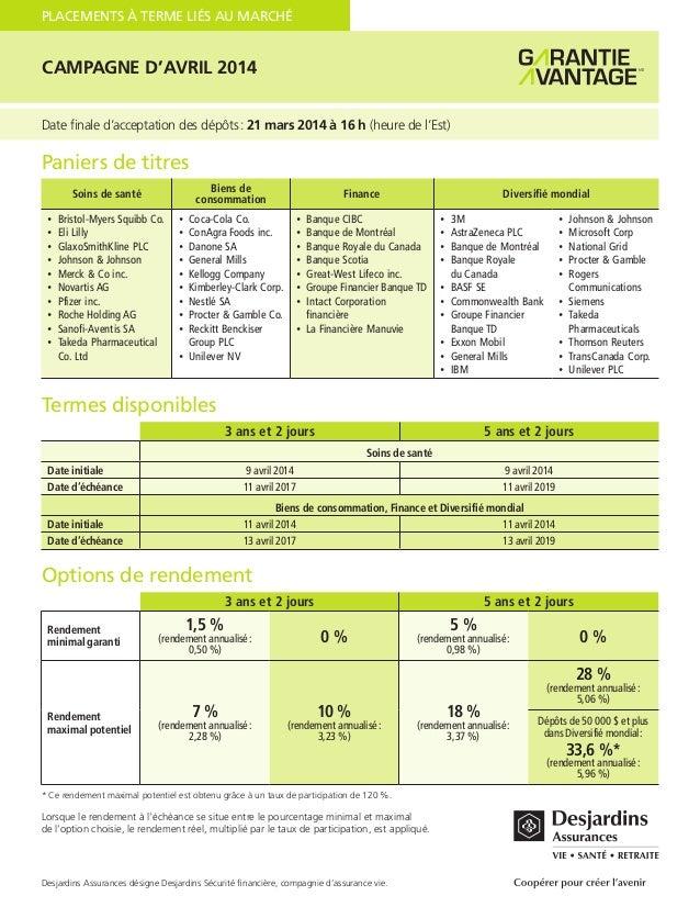 PLACEMENTS À TERME LIÉS AU MARCHÉ  CAMPAGNE D'AVRIL 2014 Date finale d'acceptation des dépôts: 21 mars 2014 à 16 h (heure...