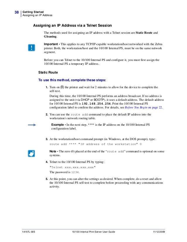 Zebra zt230 network setup guide