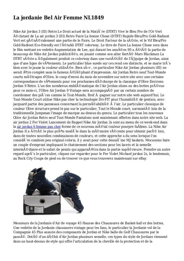 La jordanie Bel Air Femme NL1849 Nike Air Jordan 3 (III) Retro Le Droit actuel de la Matière (DTRT) Vive le Bleu Pro de l...