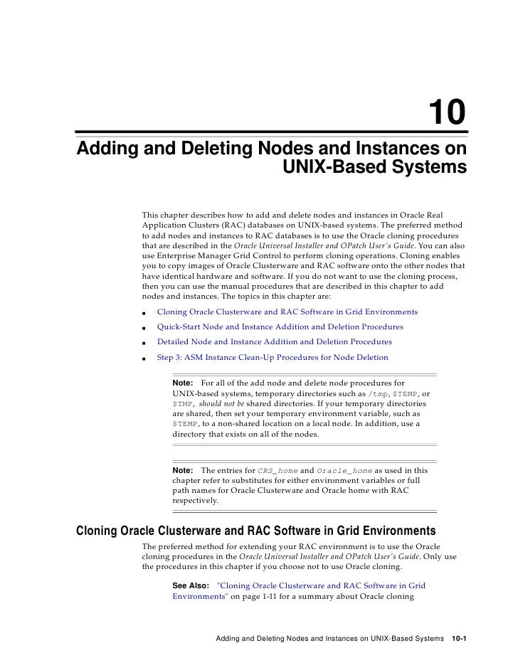 10 Adding and Deleting Nodes and Instances on                       UNIX-Based Systems             This chapter describes ...