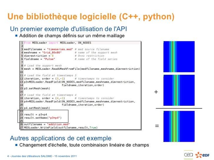 Jus 2011 manipulation de champs avec salome for Architecture logicielle exemple