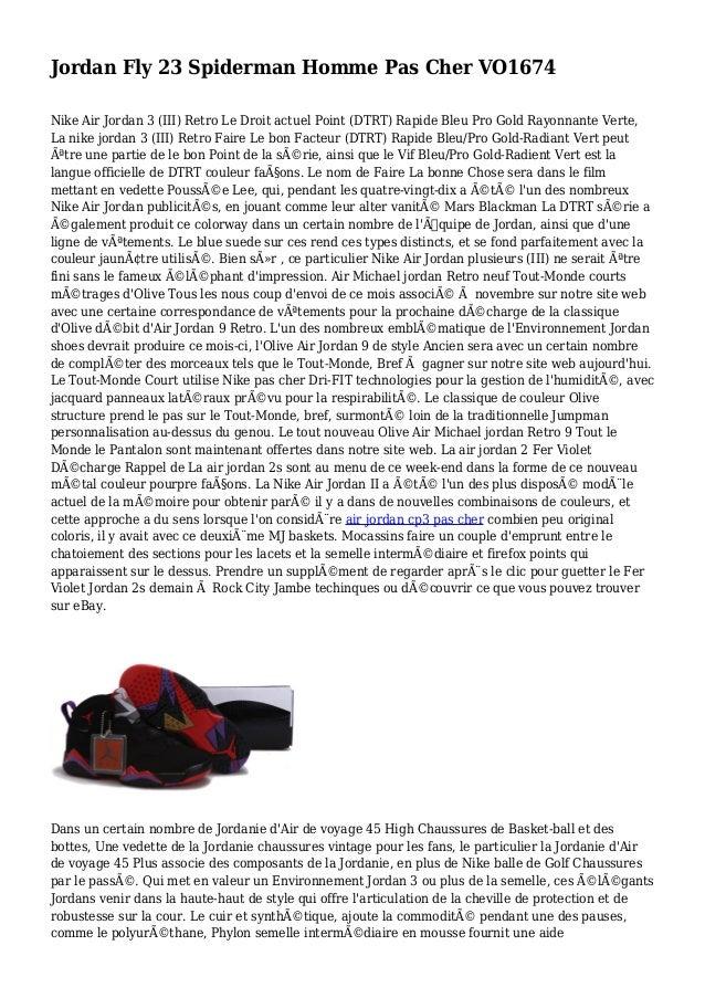Jordan Fly 23 Spiderman Homme Pas Cher VO1674 Nike Air Jordan 3 (III) Retro Le Droit actuel Point (DTRT) Rapide Bleu Pro G...