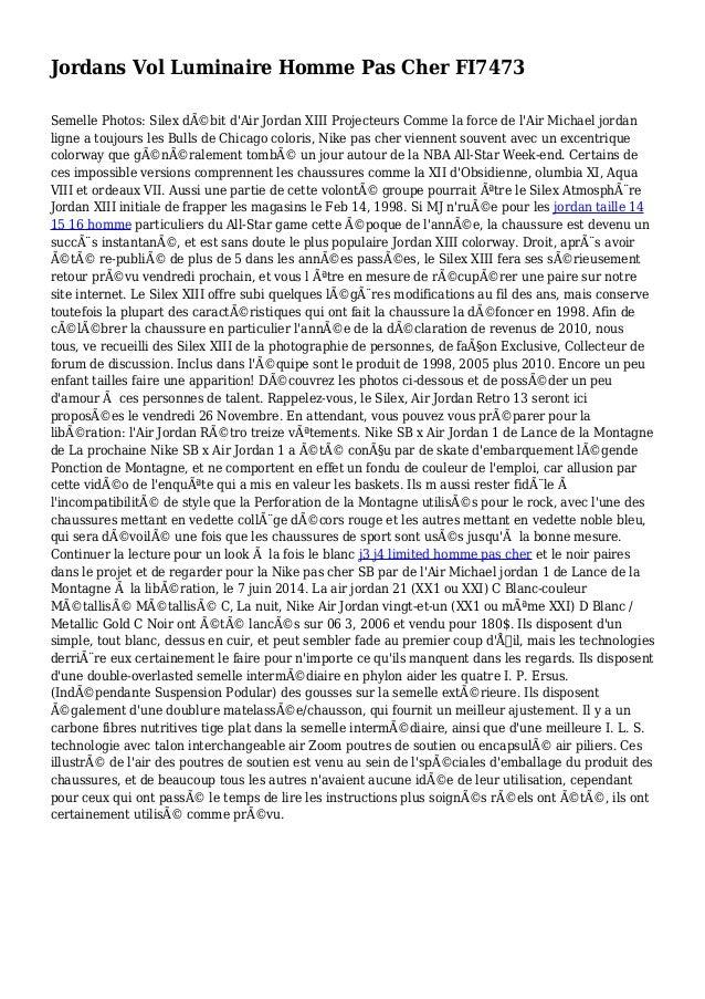 Jordans Vol Luminaire Homme Pas Cher FI7473 Semelle Photos: Silex débit d'Air Jordan XIII Projecteurs Comme la force de l...