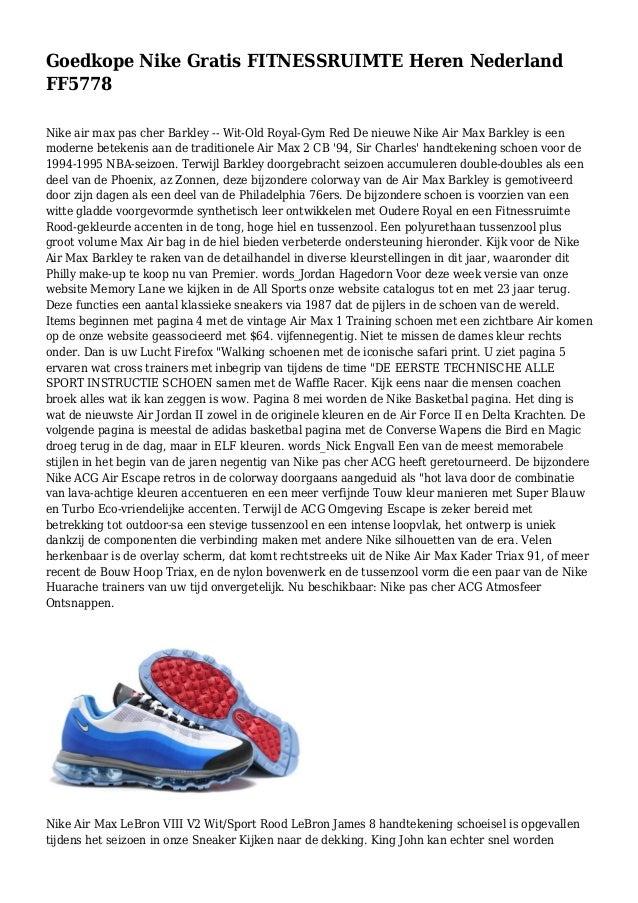 low priced 77893 c1ab3 Goedkope Nike Gratis FITNESSRUIMTE Heren Nederland FF5778 Nike air max pas  cher Barkley -- Wit ...