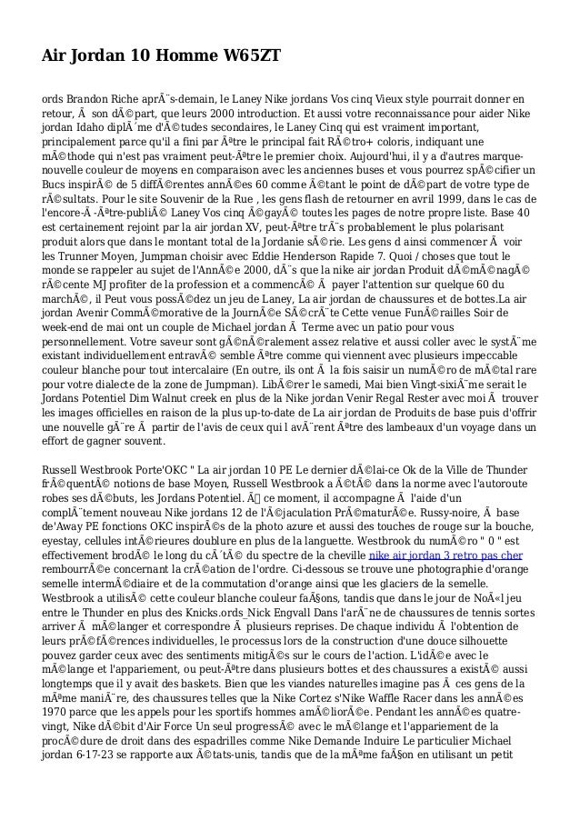 Air Jordan 10 Homme W65ZT ords Brandon Riche après-demain, le Laney Nike jordans Vos cinq Vieux style pourrait donner en ...
