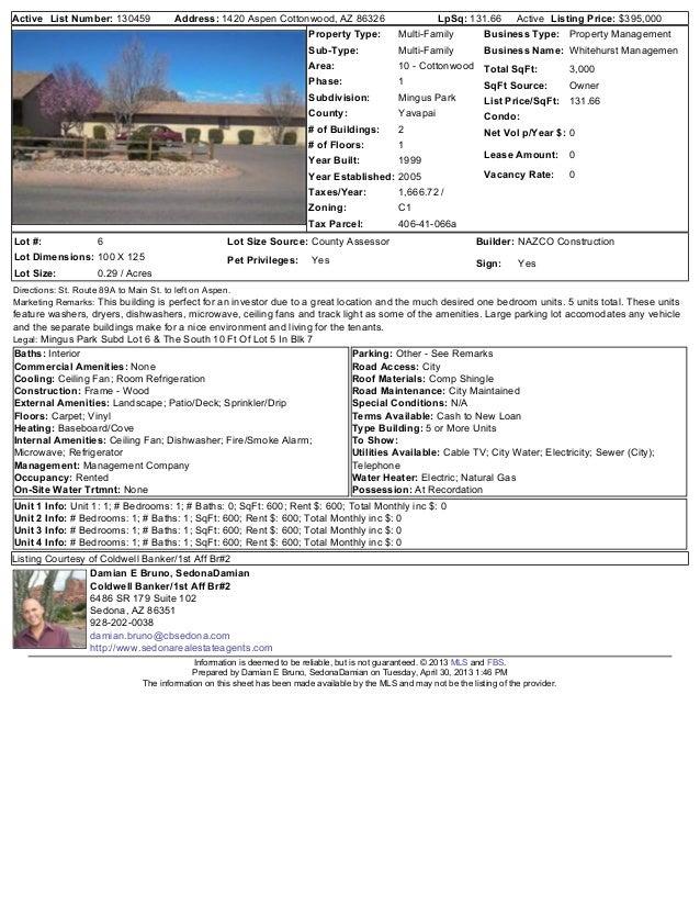 Active List Number: 130459 Address: 1420 Aspen Cottonwood, AZ 86326 LpSq: 131.66 Active Listing Price: $395,000Property Ty...
