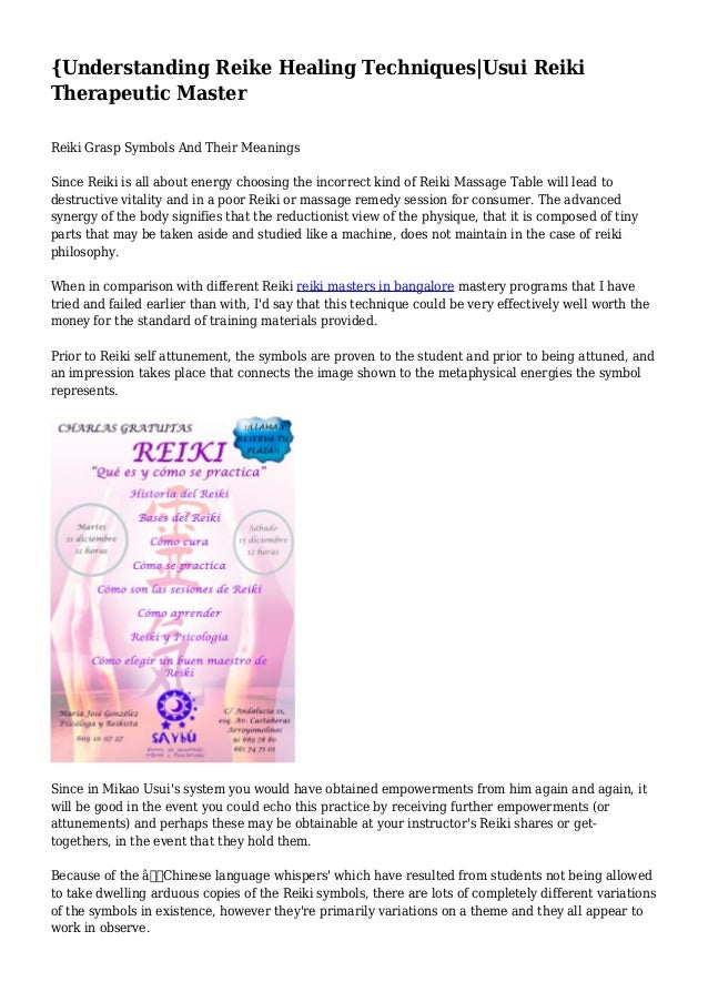 Understanding Reike Healing Techniquesusui Reiki Therapeutic Master