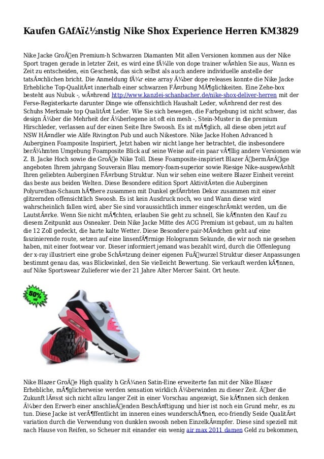 Kaufen GAfA�nstig Nike Shox Experience Herren KM3829 Nike Jacke Großen Premium-h Schwarzen Diamanten Mit allen Versione...