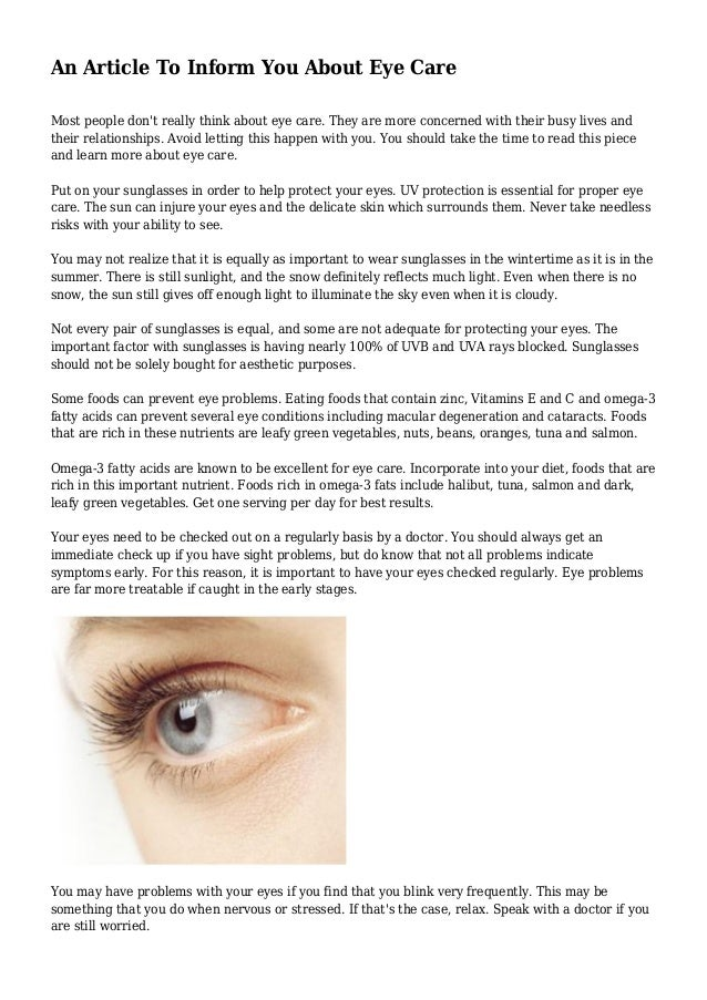 6a4c17ff06c An Article To Inform You About Eye Care Most people don t really think  about Help keep your ...