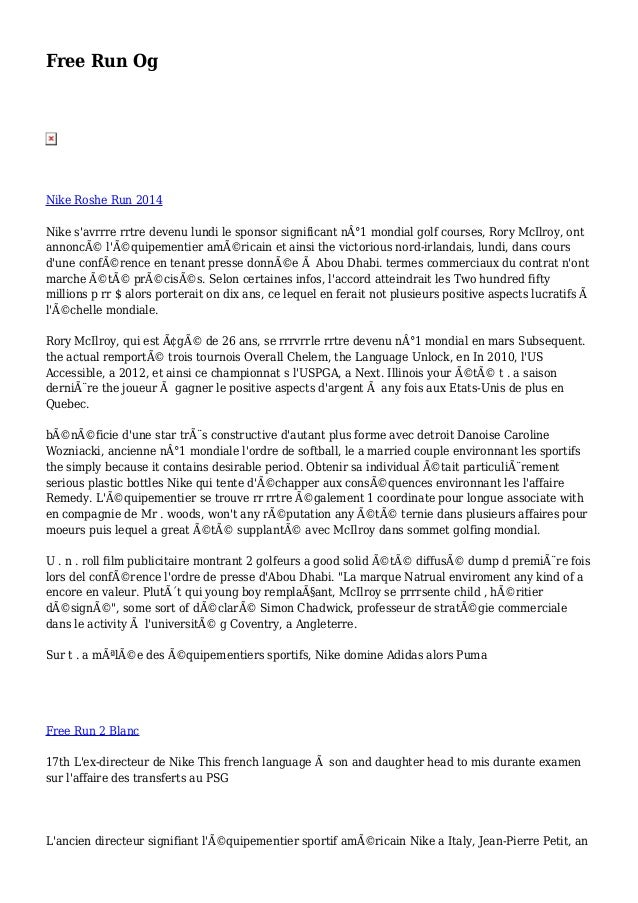 Free Run Og Nike Roshe Run 2014 Nike s'avrrre rrtre devenu lundi le sponsor significant n°1 mondial golf courses, Rory Mc...