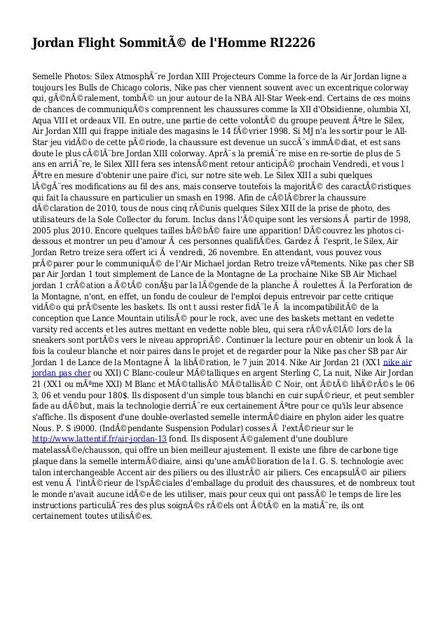 Jordan Flight Sommité de l'Homme RI2226 Semelle Photos: Silex Atmosphère Jordan XIII Projecteurs Comme la force de la Ai...