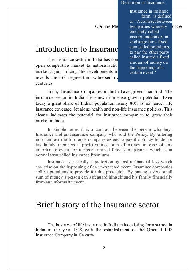 project-on-claims-management-in-life-insurance