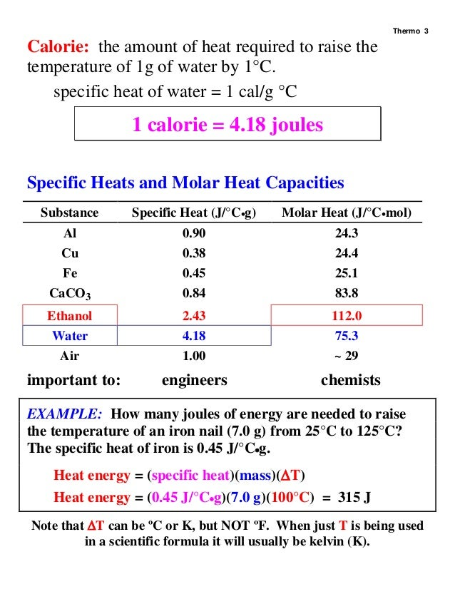 1422 chapt 15 thermodynamics for Specific heat table j gc