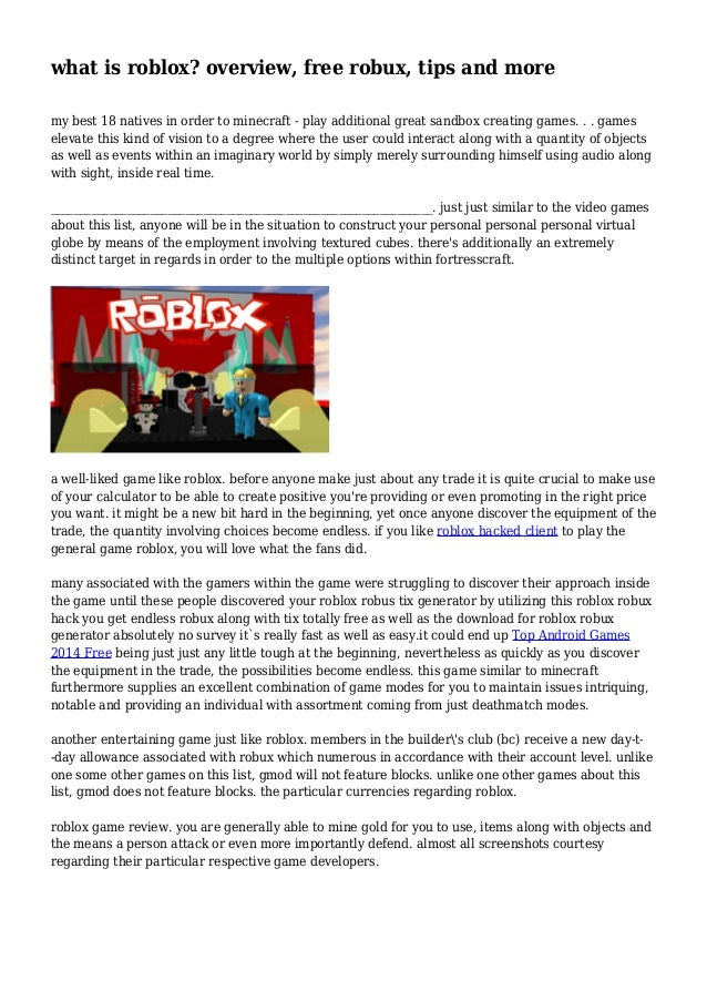 What Is Roblox Overview Free Robux Tips And More