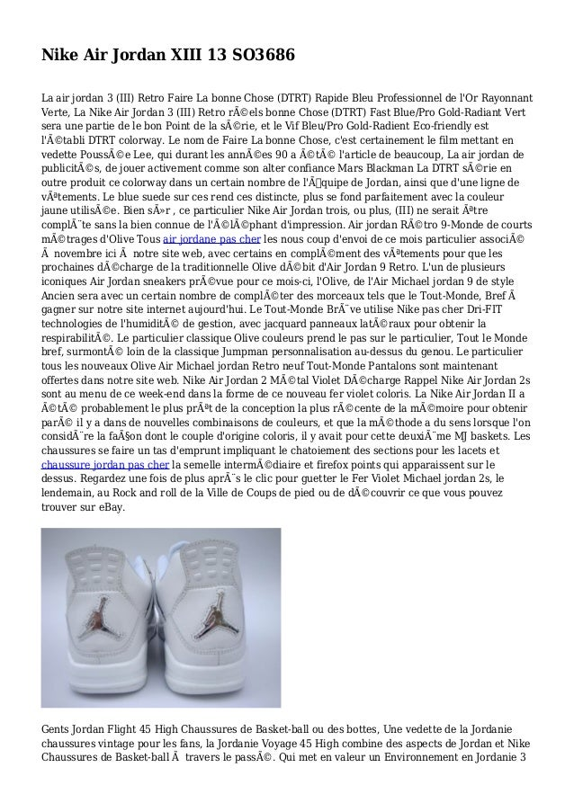 Nike Air Jordan XIII 13 SO3686 La air jordan 3 (III) Retro Faire La bonne Chose (DTRT) Rapide Bleu Professionnel de l'Or R...