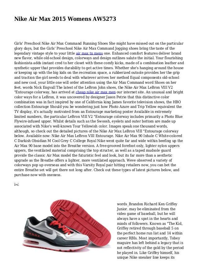 Nike Air Max 2015 Womens AW5273 Girls Preschool Nike Air Max Command  Running Shoes She ...