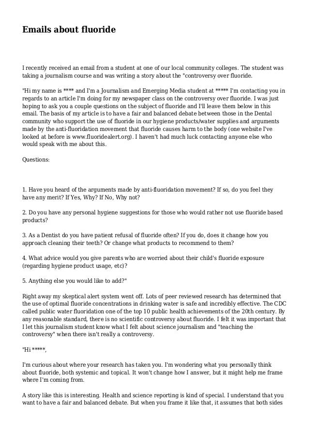 Emails about fluoride I recently received an email from a student at one of our local community colleges. The student was ...