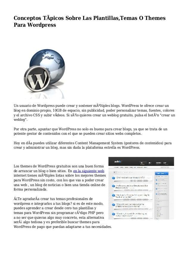 Conceptos Típicos Sobre Las Plantillas,Temas O Themes Para Wordpress
