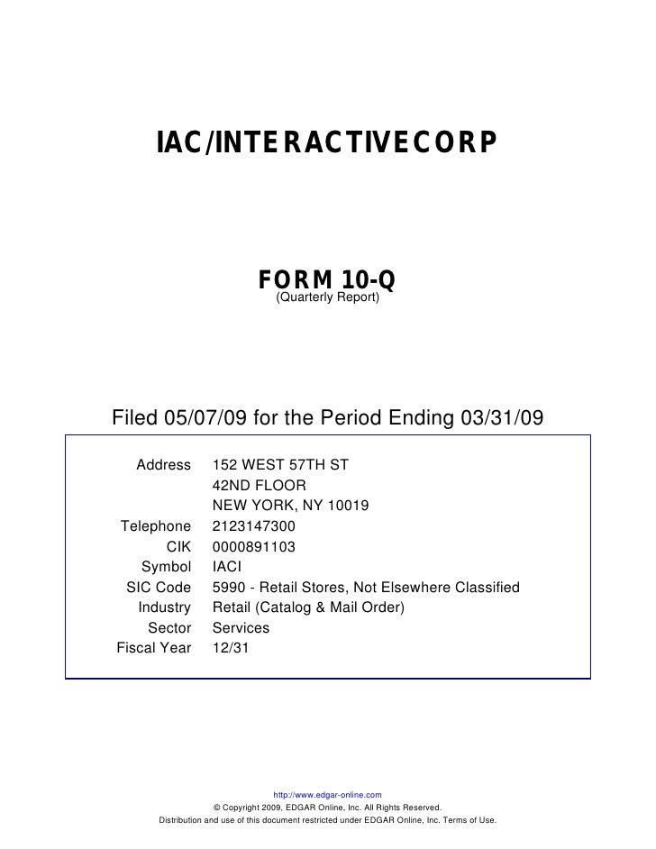 IAC/INTERACTIVECORP                                   FORM Report)10-Q                                 (Quarterly     File...