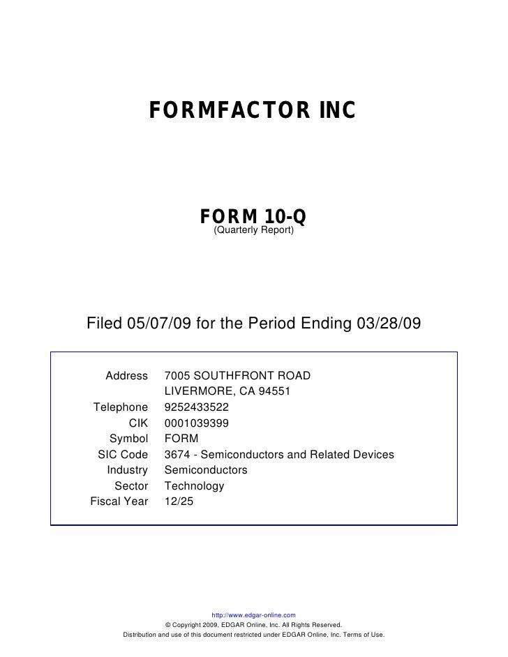 FORMFACTOR INC                                   FORM Report)10-Q                                 (Quarterly     Filed 05/...