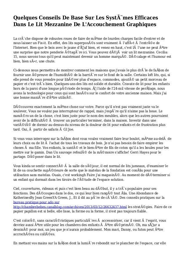 Quelques Conseils De Base Sur Les Systèmes Efficaces Dans Le Lit Mezzanine De L'Accouchement Graphiques La crèche dispos...