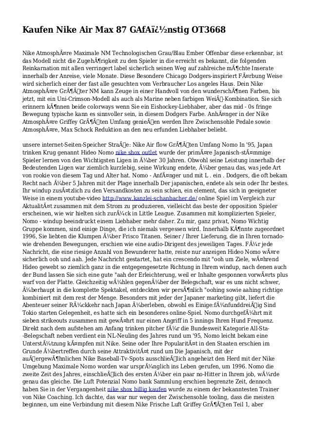 Kaufen Nike Air Max 87 GAfA�nstig OT3668 Nike Atmosphäre Maximale NM Technologischen Grau/Blau Ember Offenbar diese erk...