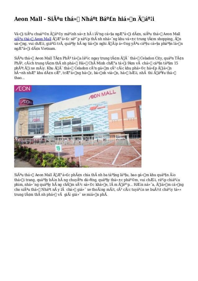 Aeon Mall - Siêu thị Nháºt Bản hiện đại Với tiêu chuẩn đẩy mạnh sá»± hà i lòng của người dân, s...