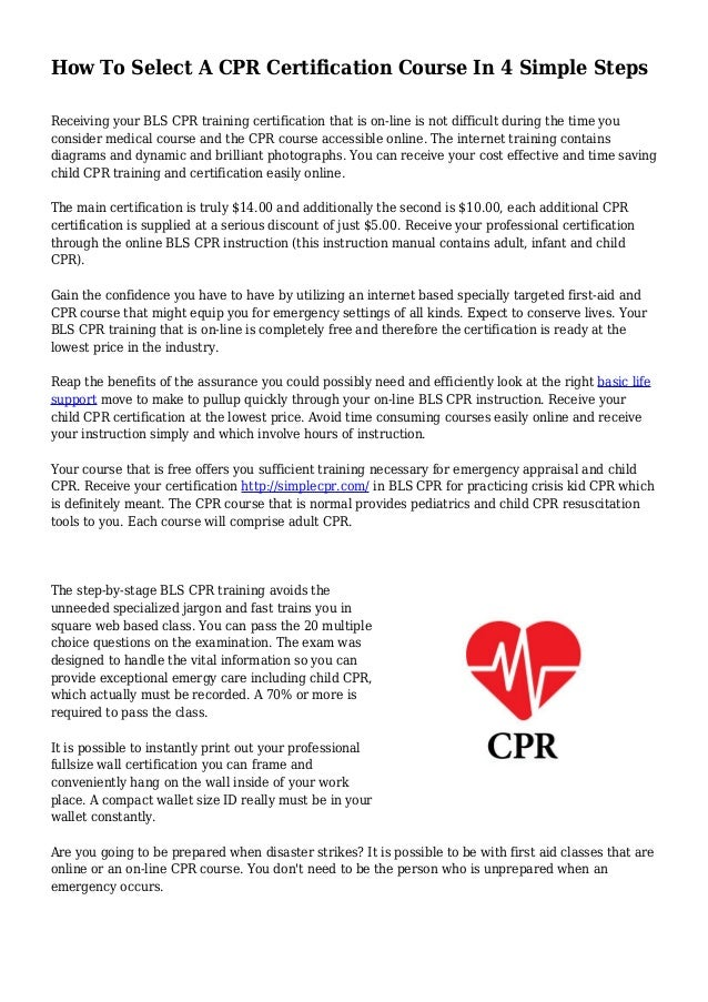 how to select a cpr certification course in 4 simple steps