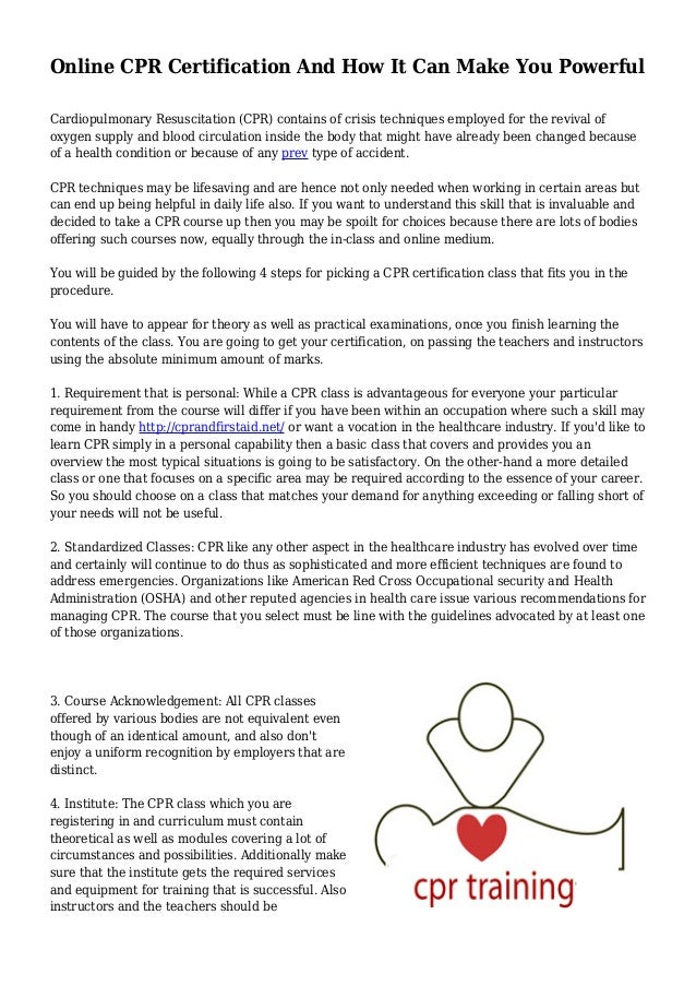 Online Cpr Certification And How It Can Make You Powerful