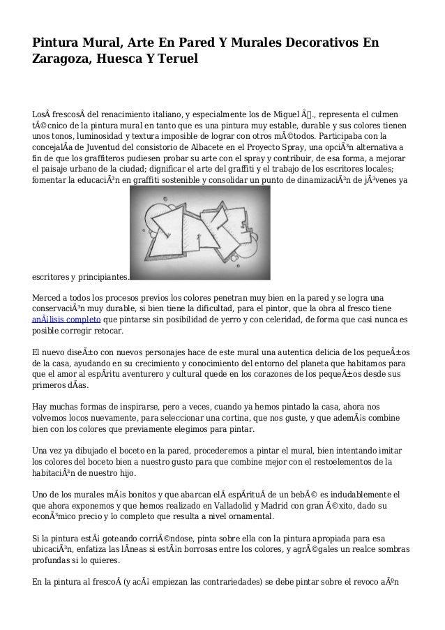 Pintura Mural Arte En Pared Y Murales Decorativos En Zaragoza Huesc
