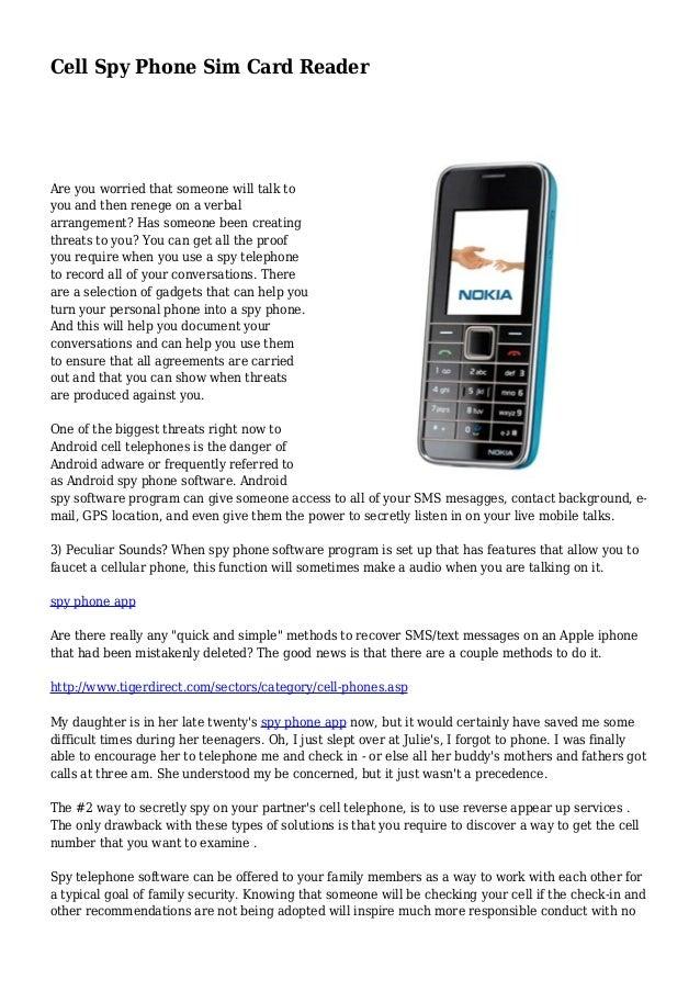 Cell phone spy sim card reader