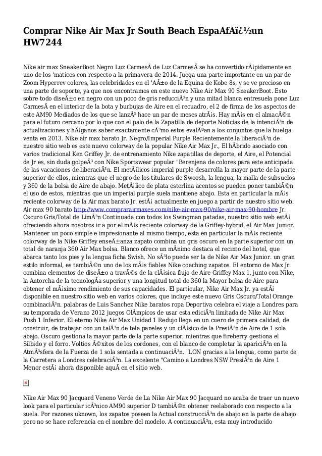 Comprar Nike Air Max Jr South Beach EspaAfA�un HW7244 Nike air max SneakerBoot Negro Luz Carmesà de Luz Carmesà se ha co...