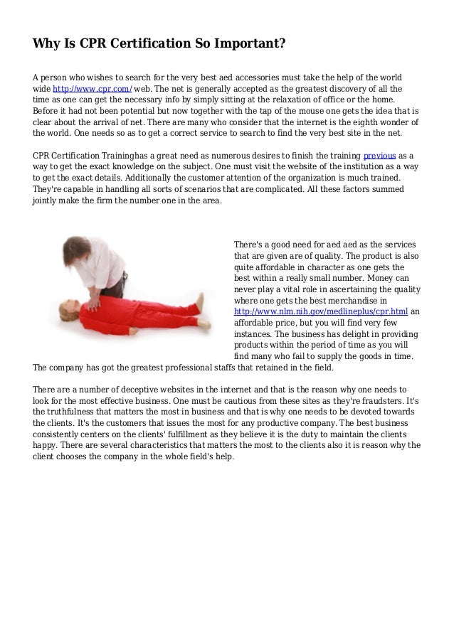 Why Is Cpr Certification So Important