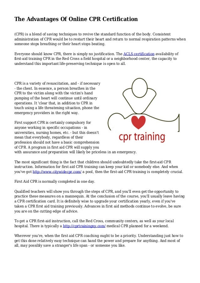 The Advantages Of Online Cpr Certification