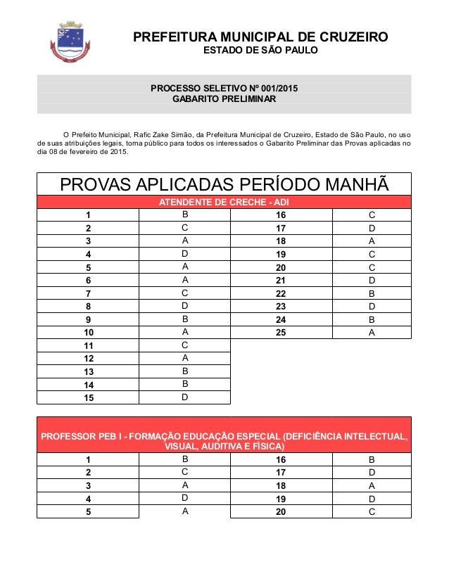 PREFEITURA MUNICIPAL DE CRUZEIRO ESTADO DE SÃO PAULO PROCESSO SELETIVO Nº 001/2015 GABARITO PRELIMINAR O Prefeito Municipa...