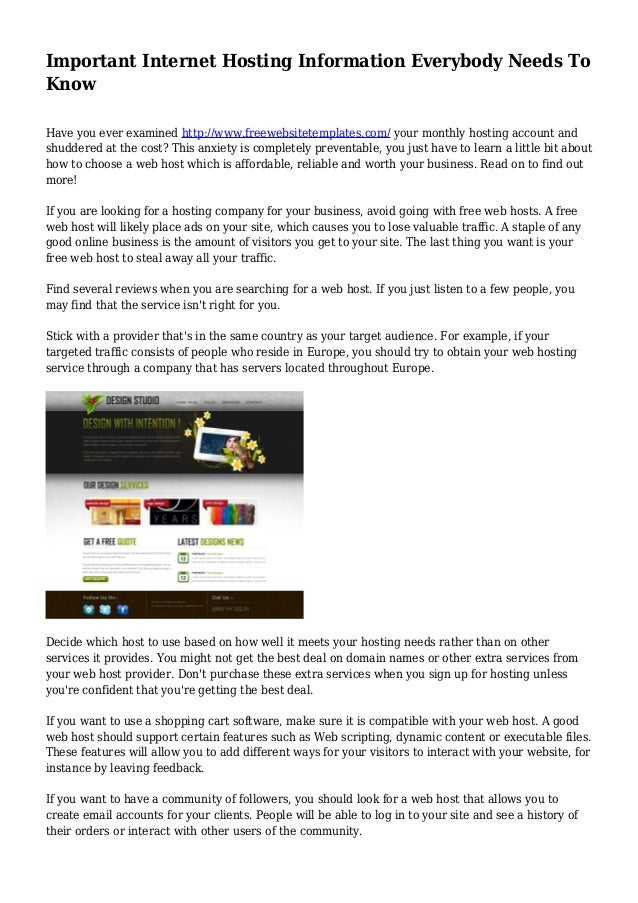 Important Internet Hosting Information Everybody Needs To Know Have You Ever Examined Choose A Web
