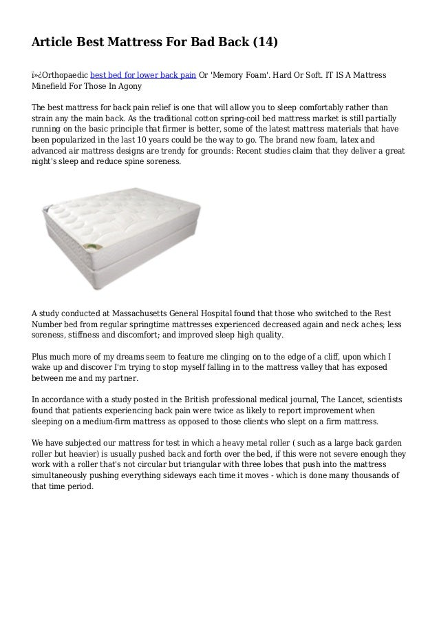 Article Best Mattress For Bad Back 14