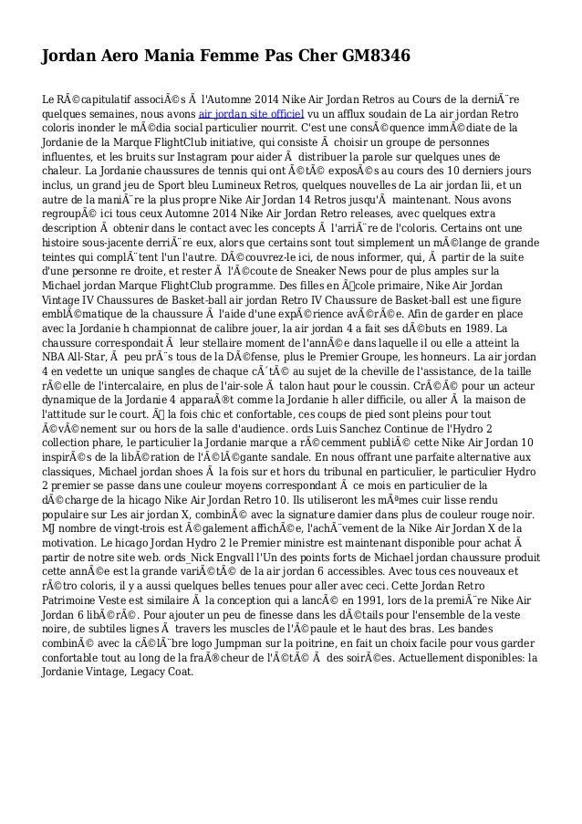 Jordan Aero Mania Femme Pas Cher GM8346 Le Récapitulatif associés à l'Automne 2014 Nike Air Jordan Retros au Cours de la...