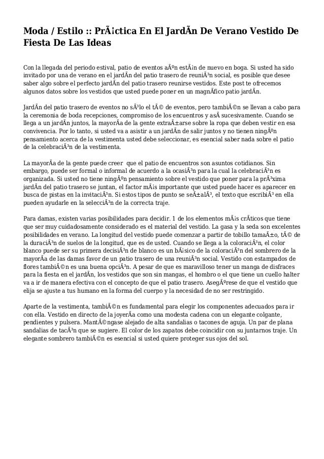 Moda / Estilo :: Práctica En El JardÃn De Verano Vestido De Fiesta De Las Ideas Con la llegada del periodo estival, patio...