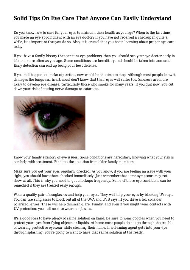 771727d589e Solid Tips On Eye Care That Anyone Can Easily Understand Do you know how to  care Keeping up with your ...