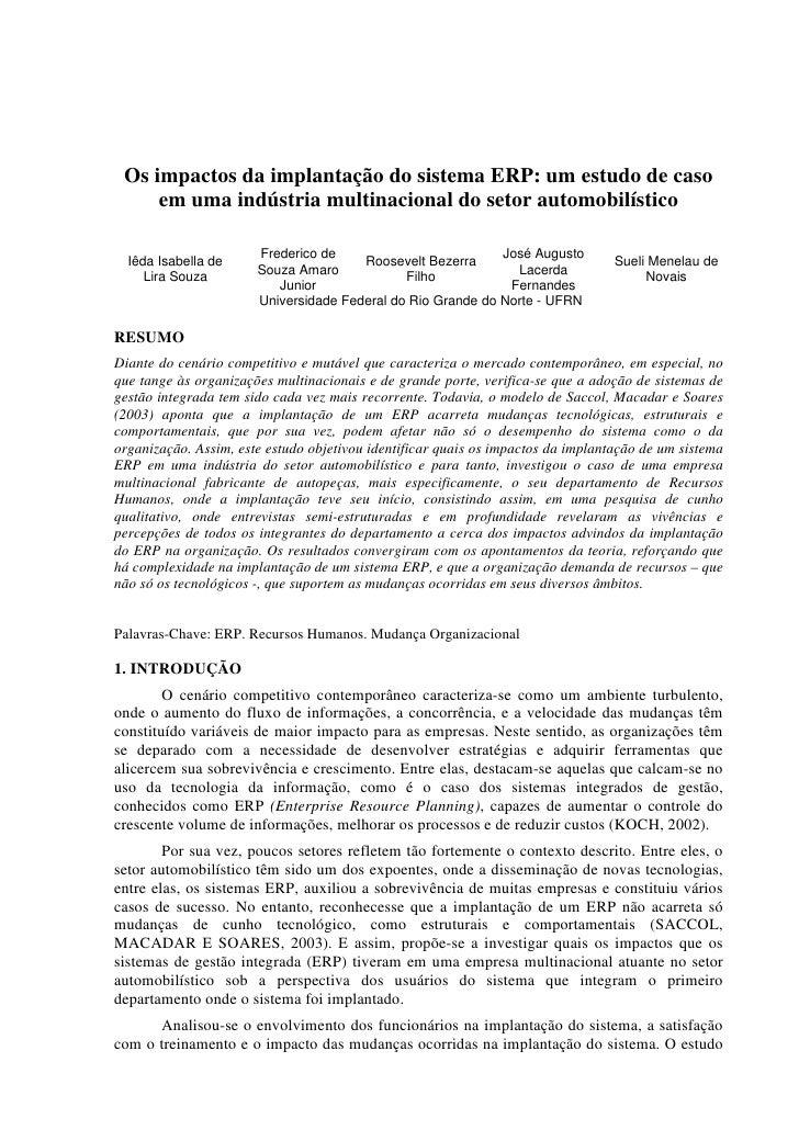 Os impactos da implantação do sistema ERP: um estudo de caso     em uma indústria multinacional do setor automobilístico  ...