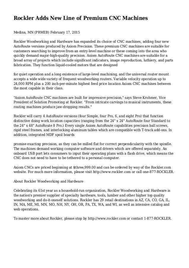 Rockler Adds New Line Of Premium Cnc Machines