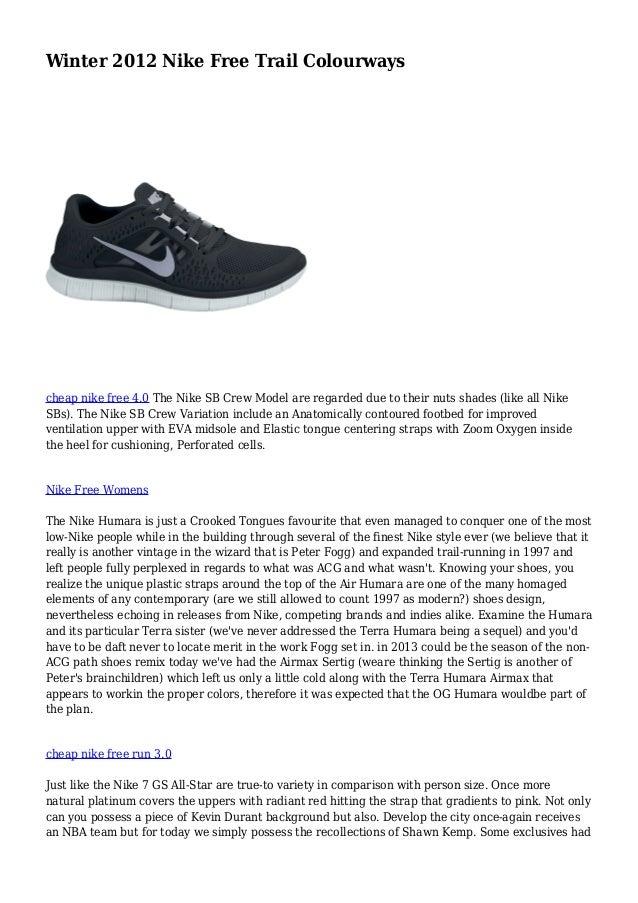 Winter 2012 Nike Free Trail Colourways