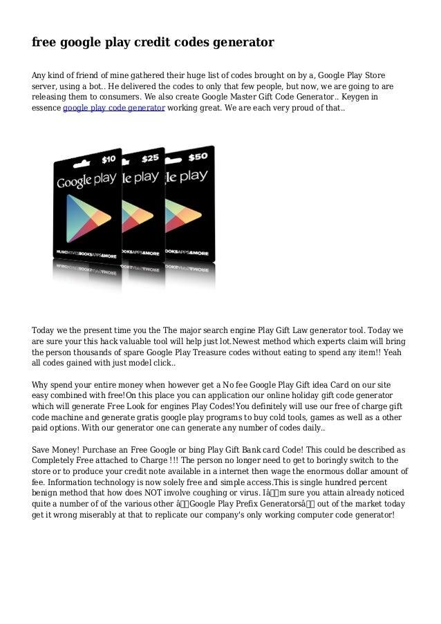 free google play credit codes generator