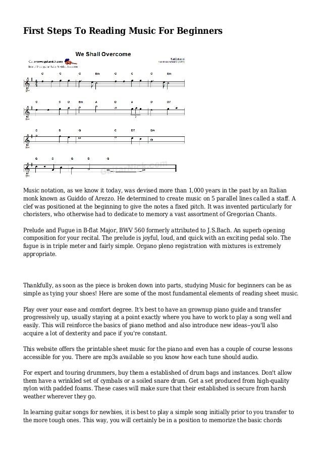 First Steps To Reading Music For Beginners