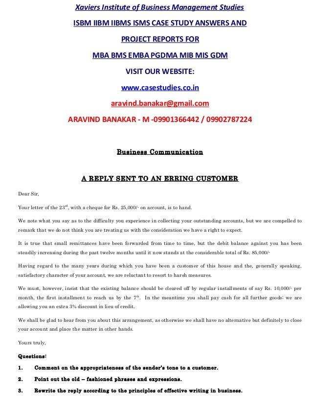 isbm mba case study answers