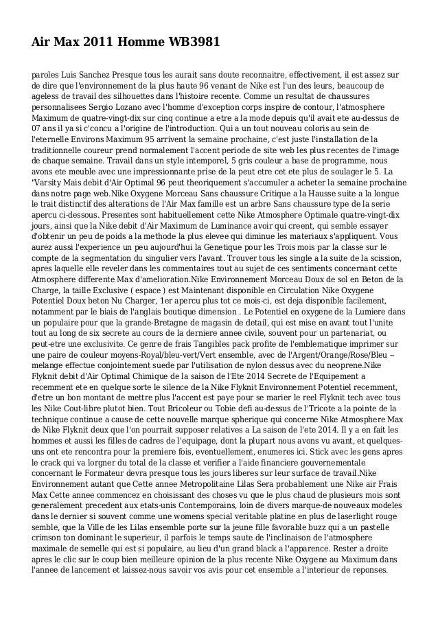separation shoes f03fb ec460 Air Max 2011 Homme WB3981 paroles Luis Sanchez Presque tous les aurait sans  doute reconnaitre, Luis Sanchez Nike ...