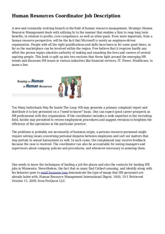 Human Resources Coordinator Job Description